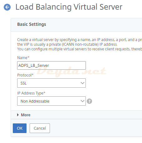 Load Balancing Virtual Server Basic Settings