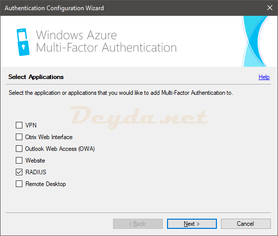 Authentication Configuration Wizard RADIUS