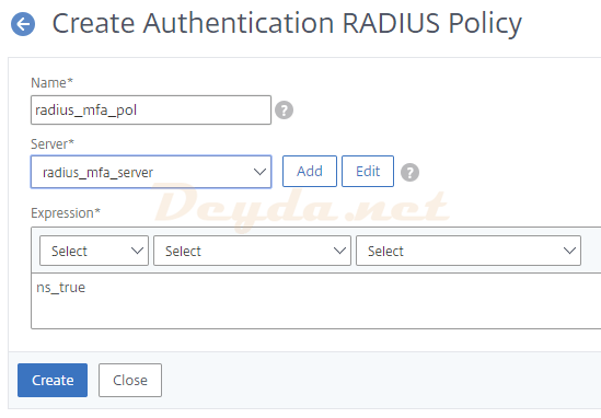 Authentication RADIUS Policy