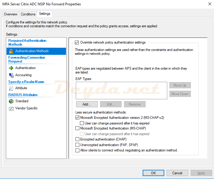 Connection Request Policies Settings Authentication Methods