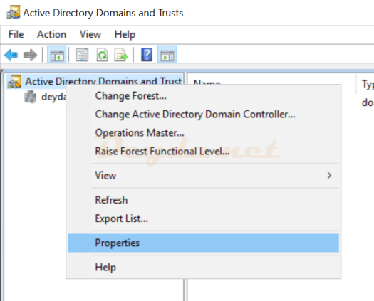 Active Directory Domains and Trusts Properties