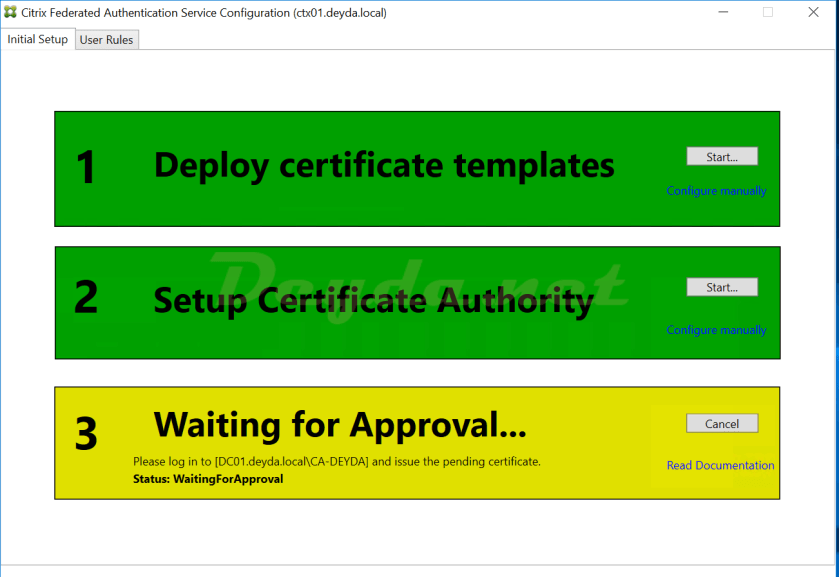 Waiting for Approval Pending Certificate