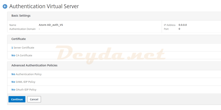 Server Certificate SAML Authentication Virtual Server Advanced Authentication Policies Authentication Policy