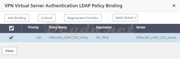 Unbind LDAP Policy VPN Virtual Server Authentication