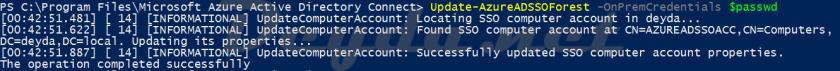Update-AzureADSSOForest -OnPremCredentials $passwd