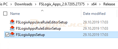Start FSLogixAppsSetup install
