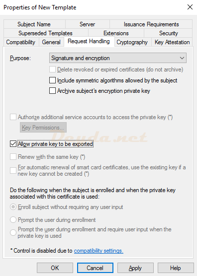 Duplicate Template Request Handling Allow private key to be exported