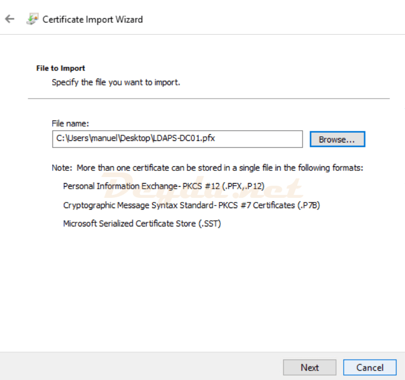 File to Import Certificate Import Wizard