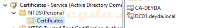 Certificates - Service (Active Directory Domain Services) NTDS\Personal Certificates