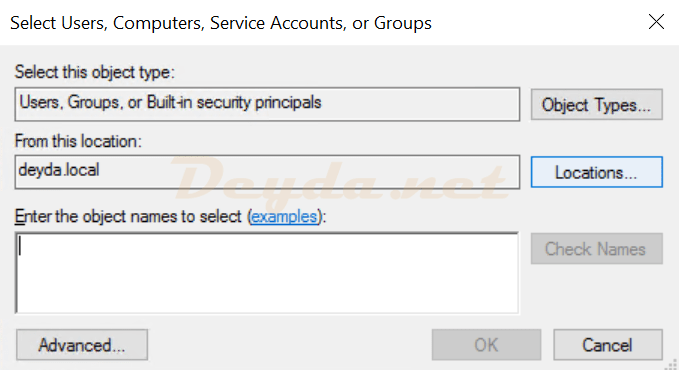 Select Users, Computers, Service Accounts or Groups
