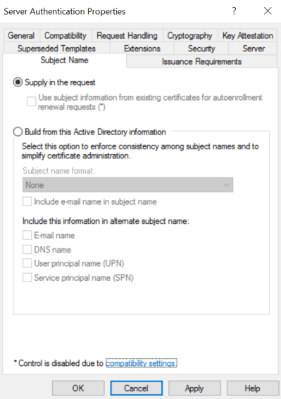Supply in the request Certificate Template