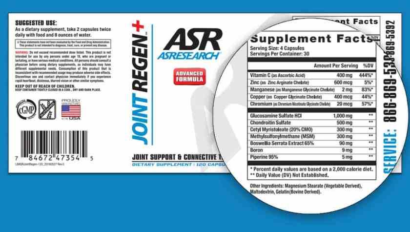ASR Joint Regen dosage