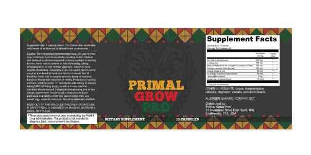 Primal Grow Pro Dosage