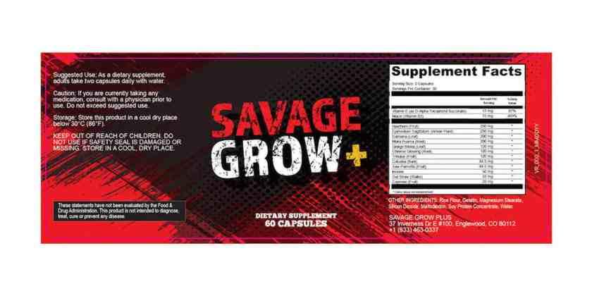 Savage Grow Plus Dosage