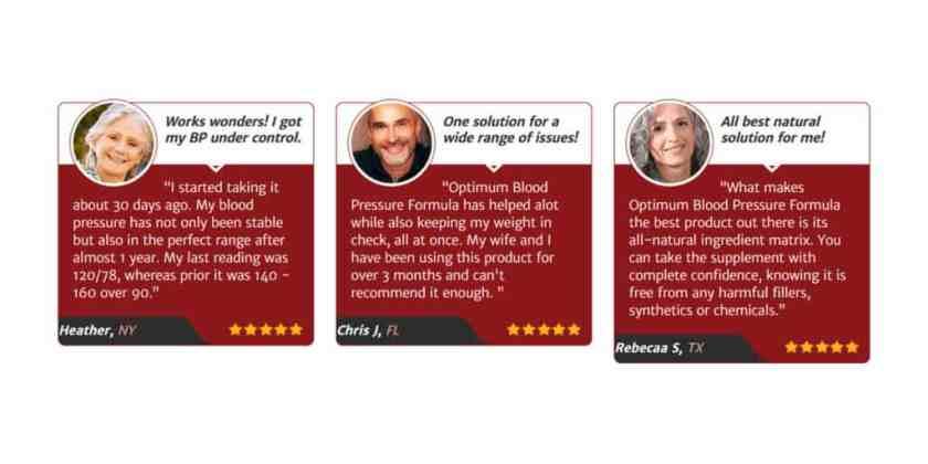 Optimum Blood Pressure Customer Reviews