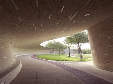 Press kit | 2404-02 - Press release | Oxygen Park, Education City, Doha - Qatar Foundation, AECOM - Institutional Architecture - Covered Walkway - Lower Park Level - Photo credit:  Markus Elblaus