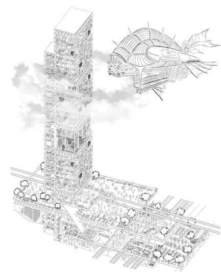 Press kit | 1127-13 - Press release | Winners 2017 eVolo Skyscraper Competition - eVolo Magazine - Competition - Acupuncture of Urban Traffic Structure - honorable mention - Photo credit: Kristina Rykova