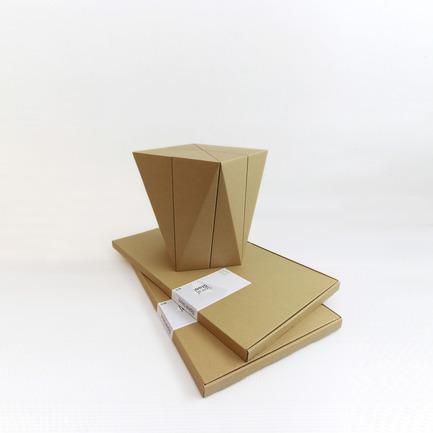Press kit | 2128-01 - Press release | Fractal Surface Structure made with Cardboard Sheet: Spiral Stool by MisoSoupDesign Awarded Platinum A'Design Award - MisoSoupDesign - Product - Flat packaging for Spiral Stool - Photo credit: Daisuke Nagatomo