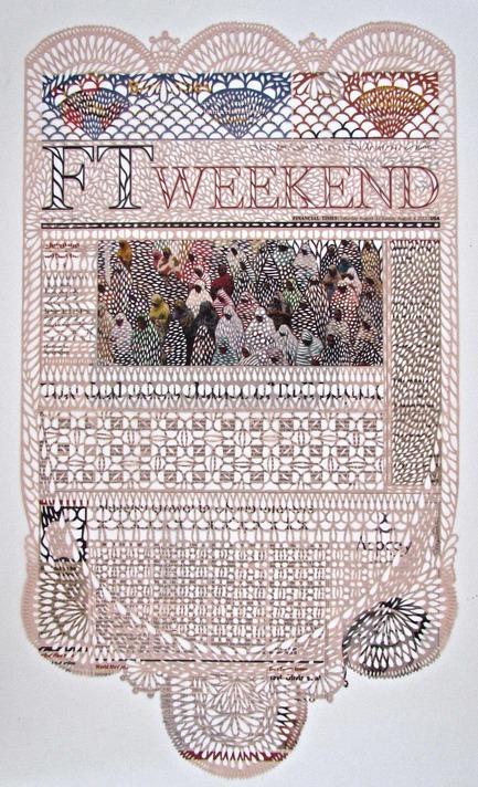Press kit | 1134-01 - Press release | Papier14 - Contemporary Art Fair of Works on Paper - The Contemporary Art Galleries Association (AGAC) - Event + Exhibition - Myriam Dion3 et 4 août 2013, 2013 Papier journal découpé, 56 x 33 cmGalerie Division (Montréal) - Kiosque #303