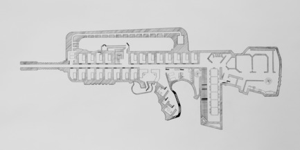 Press kit | 985-01 - Press release | Aérial - Baptiste Debombourg - Art - Tradition of Excellence XI -Famas-F1-, drawing, frame, pencil on vinci paper 45x100cm