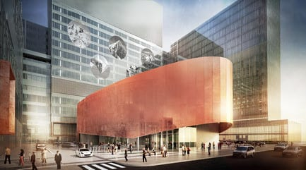 Press kit - Press release - CannonDesign + NEUF architect(e)s lifts the veil on Montreal's CHUM - the largest healthcare construction project in North America - CannonDesign + NEUF architect(e)s