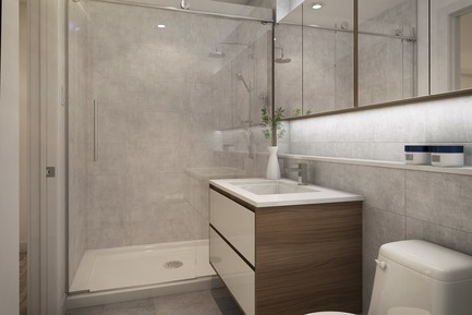 Press kit | 1867-05 - Press release | ENTICY, a new boutique condo project in downtown Montreal - Claridge-Omnia Technologies-Geiger Huot - Residential Architecture - Bathroom - Photo credit: Enticy