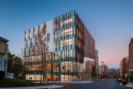 Press kit   2353-04 - Press release   The Breazzano Family Center Blazes a Trail for Academic Development in Collegetown - ikon.5 architects - Institutional Architecture - View from downtown Ithaca - Photo credit: Brad Feinknopf