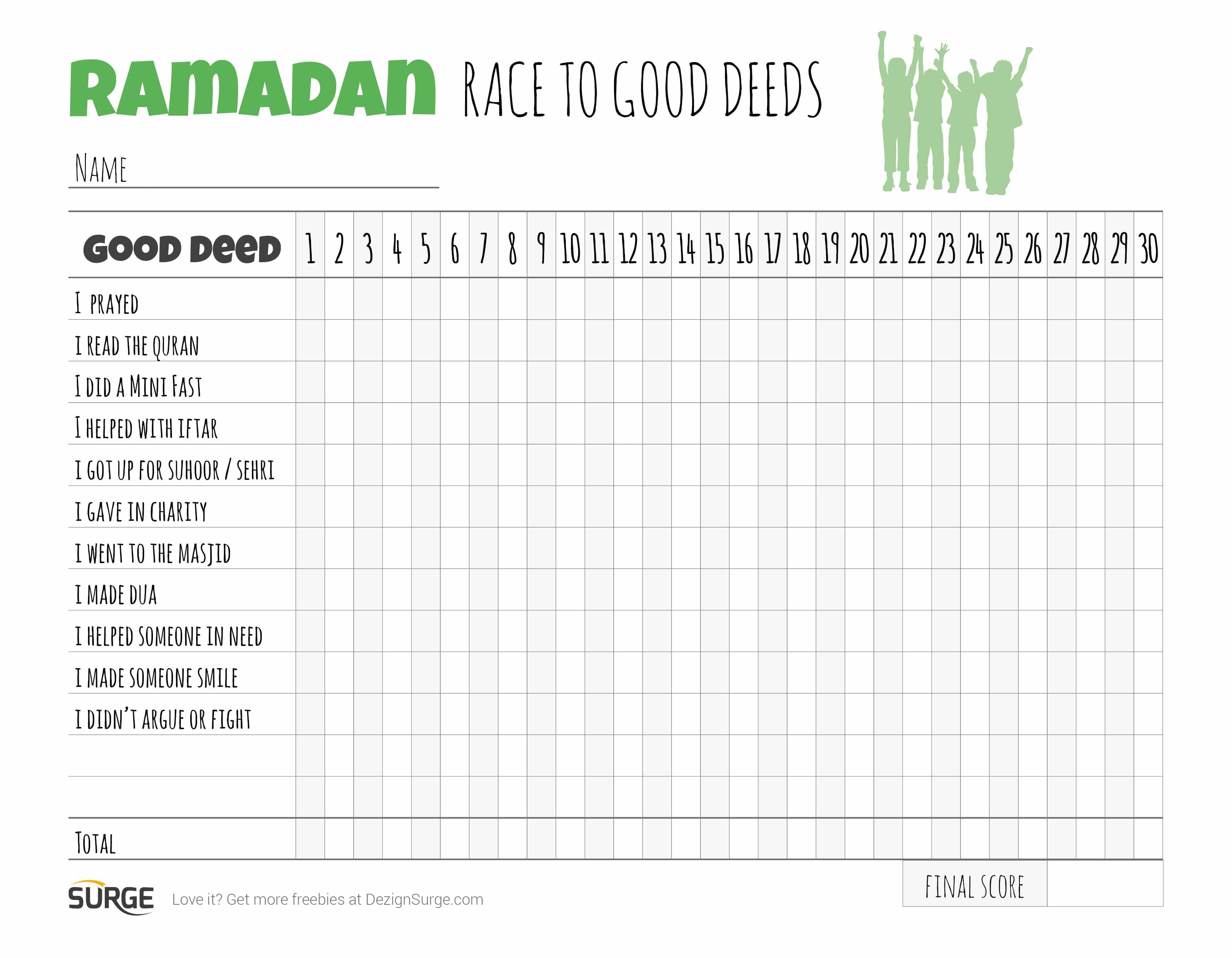 Ramadan Kids Chart