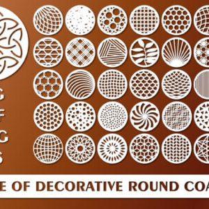 Laser Cut Bundle of Decorative Circle Coaster