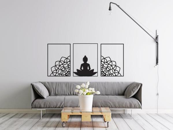 Buddha Mandala Set, Mandala Metal Wall Decor, Buddha Wall Decor