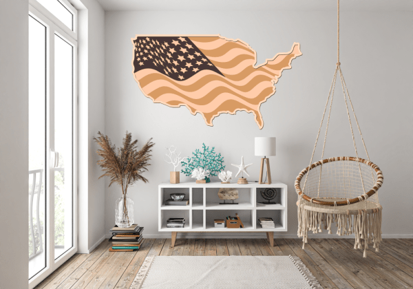 Laser Cut USA Map 4th of July Vector File