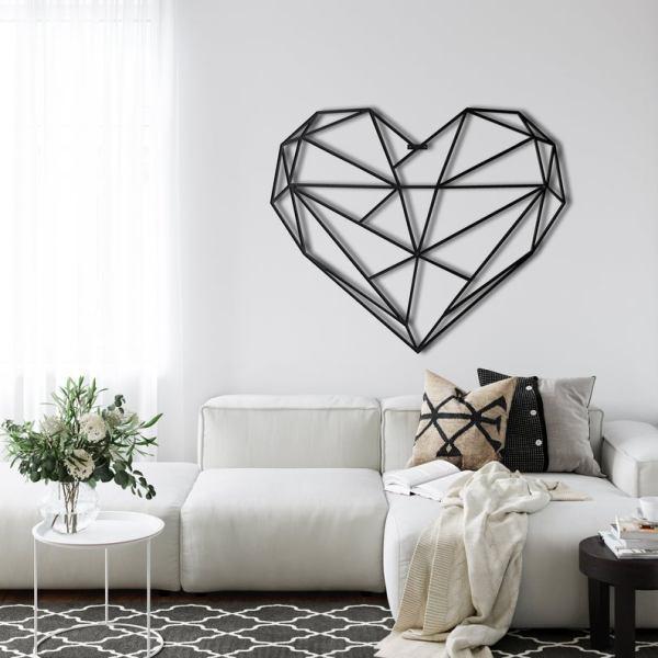 Metal Wall Art Geometric Heart Metal Decor Bedroom Decoration Love Gift