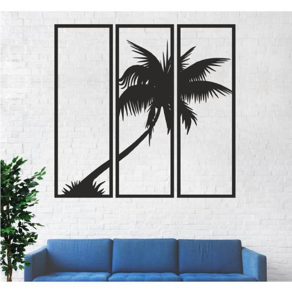 Metal Wall Art, Metal Palm Tree Decor 3 Panels, Metal Tree