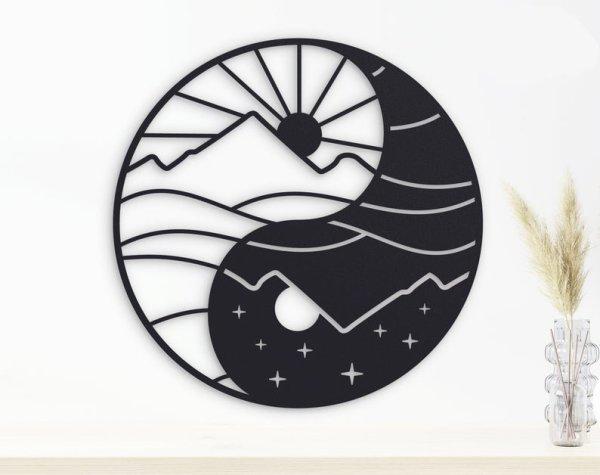 Yin Yang Metal Wall Art, Moon Sun Metal Wall Decor, Yoga Home Decor