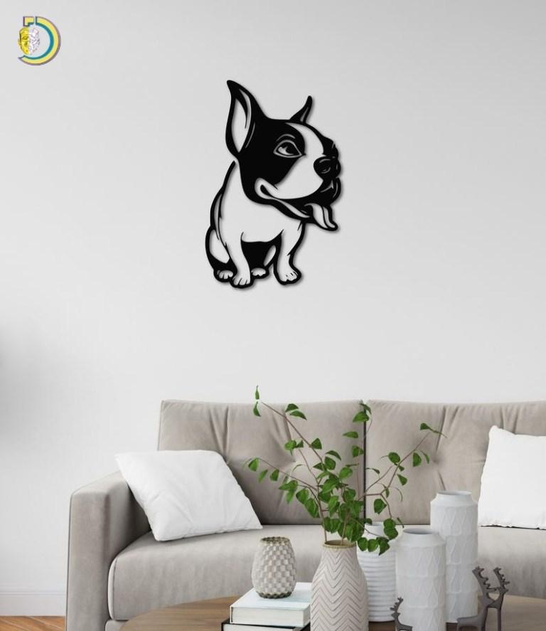 Friendly French Bulldog Dog Metal Wall Art Decoration