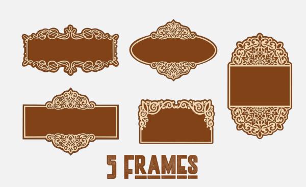 Laser Cut 5 Frames, Name Frame, Name Plate Vector Cut Files