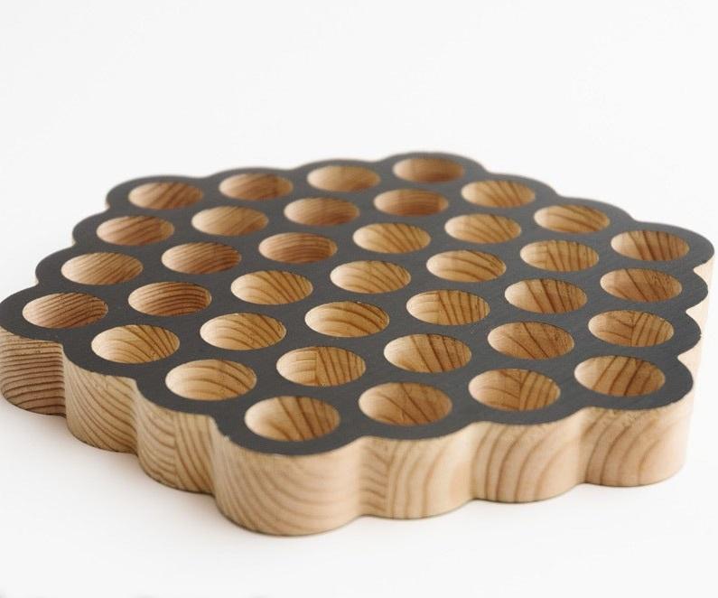 Laser Cut Circle Honeycomb Trivet 19 Holes Free Vector