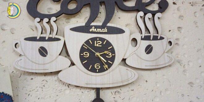Laser Cut Coffee Wall Clock Decorative Wooden Clock CDR Free Vector