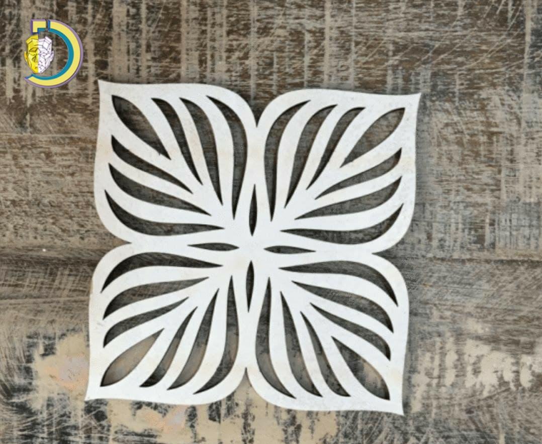Laser Cut Decorative Floral Hot Coaster SVG Free Vector