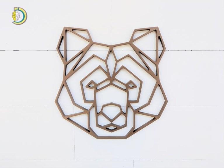 Laser Cut Geometric Bear Head Wall Hanging Geometric Wood Decor