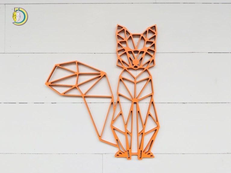 Laser Cut Geometric Fox Wall Hanging Wall Decor Free Vector
