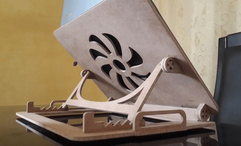 Laser Cut Laptop Stand Layout Free CDR Vector