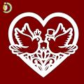 Laser Cut Wedding Dove Birds in Heart SVG Free Vector