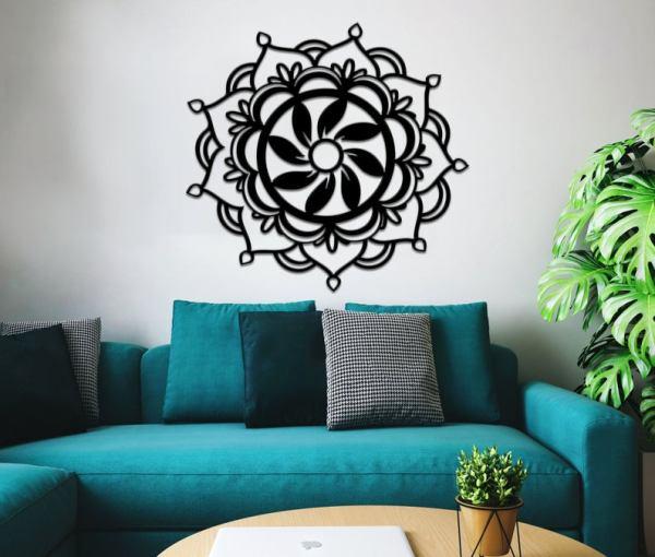 Mandala Lotus Metal Wall Art, Metal Wall Decor
