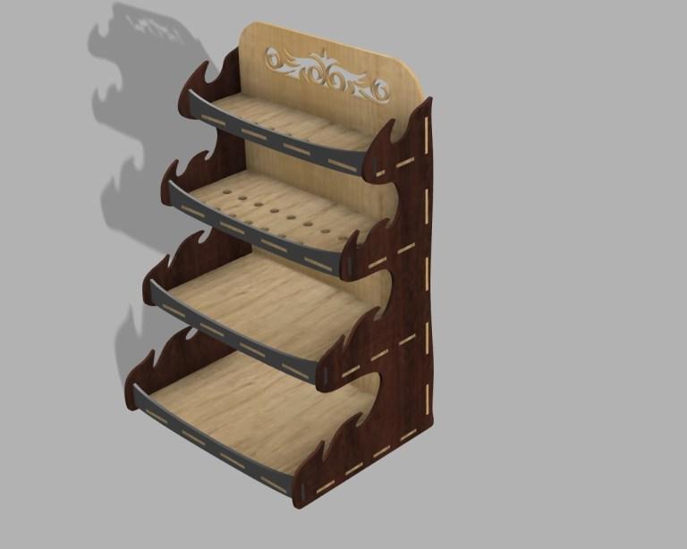 Laser Cutting Organizer Shelf 3mm Plywood CDR Free Vector