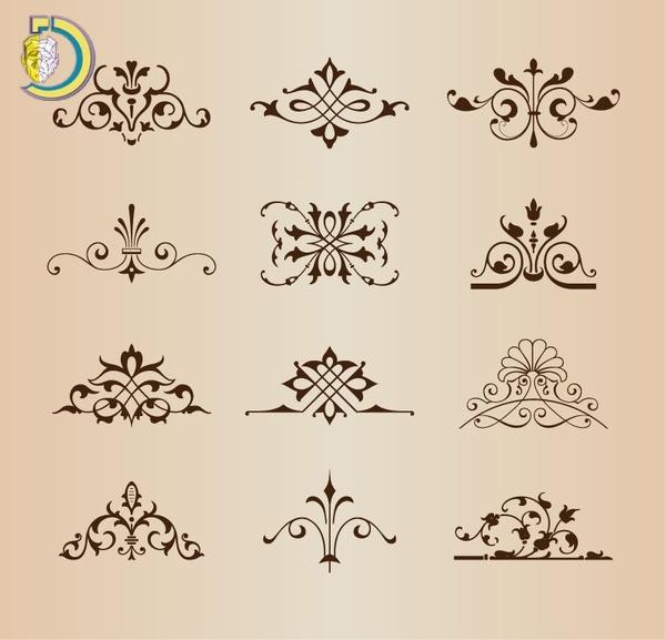 Vintage Floral Ornament Elements Vector Illustration Free Vector