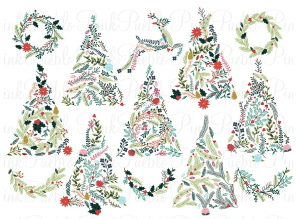 Floral Christmas tress & bunting