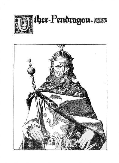 Uther Pendragon, gravură de Howard Pyle, sursa Wikipedia.