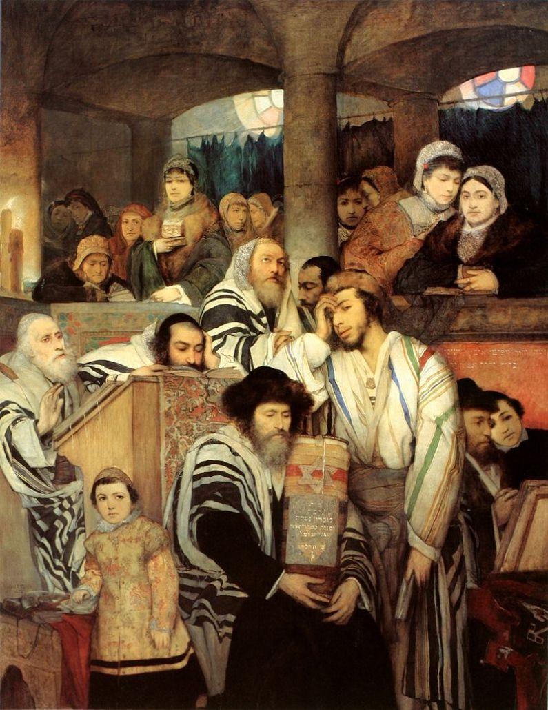 Evrei rugându-se la sinagogă pentru Iom Kipur. Pictură de Maurycy Gottlieb, Muzeul de Artă din Tel Aviv. Sursă Wikipedia.
