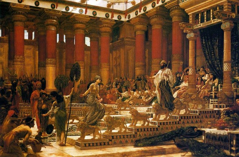 Vizita reginei din Sheba la regele Solomon.Picutura de Edward Poynter.Sursa Art Gallery of New South Wales, Wikipedia.